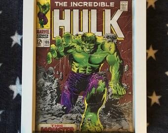 Framed Marvel print of The Incredible Hulk Bruce Banner comic cover in white frame
