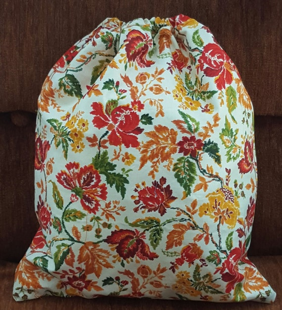 Bag Floral Fabric Print; Drawstring Floral Print Bag; Lined Drawstring Bag; Gift Bag