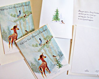 Vintage Christmas Cards 4 ,  Winter scene with Deer/Fawn in the Woods,Pristine 1970's Xmas Cards Unused with original envelopes Norcross Inc