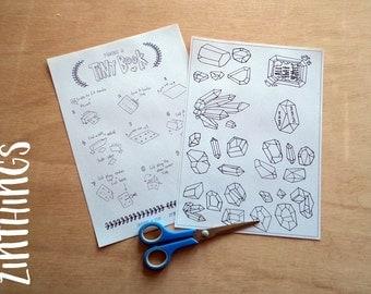 DIY Mini Zine Coloring Book - Gemstones - Coloring Book - Printable