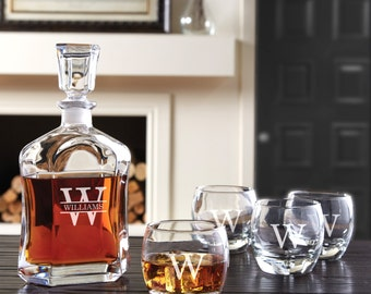 5 Piece Glass Whiskey Decanter Set  - (g143-1117-1/2) - Free Personalization
