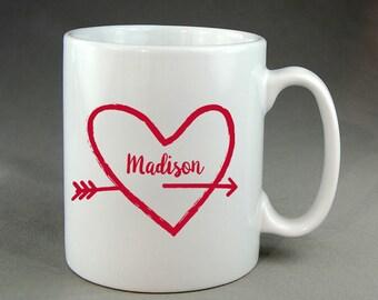 Personalized Love Coffee Mug Mugs oz. 15 Ounce Love Hearts Heart Life