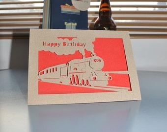 Happy Birthday Train Age Card! Handmade Birthday Paper Cut Card 5x7