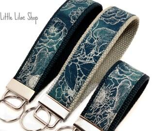 Keychain Wristlet, Key Fob Wristlet, Fabric Key Fob, Fabric Keychain, Key Holder, Key Chain, Fabric Key Holder, Navy Blue, Metallic Pattern