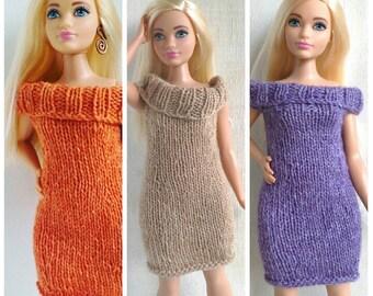 Curvy Barbie dress PDF pattern, knitting for dolls, knitted dress pattern, sheath dress