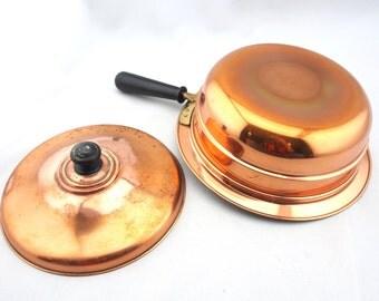 Copper Pan with Cover, Vintage Copper Pot, Copper Casserole, Copper Cookware