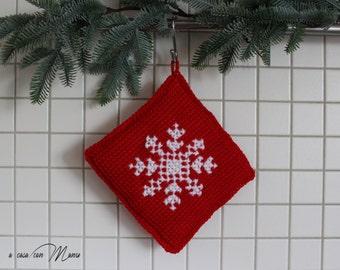 Red Potholder crochet, crochet Christmas pot holder, Christmas, Christmas decoration, Christmas, winter, crochet, gift idea, handmade