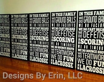 In This Family... We Do Lacrosse Wooden Wall Decor