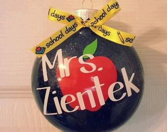 Personalized Apple Teacher's Ornament