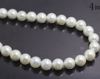 4mm South Sea Shell Pearls Round Beads,Smooth and Round Beads,15 inches 1 strand