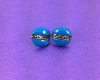 Vintage Silver Earrings, Marcasite Earrings, Blue Earrings, Opaque Glass, English Silver, Circa 1960, Vintage Wedding, Bridal