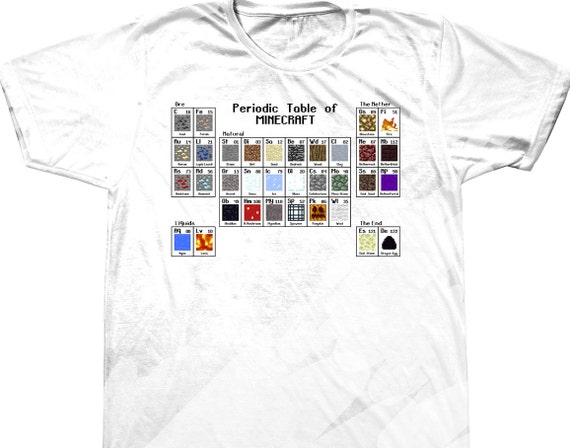 Periodic table of minecraft t shirt by anoogomoda on etsy for Custom periodic table t shirts