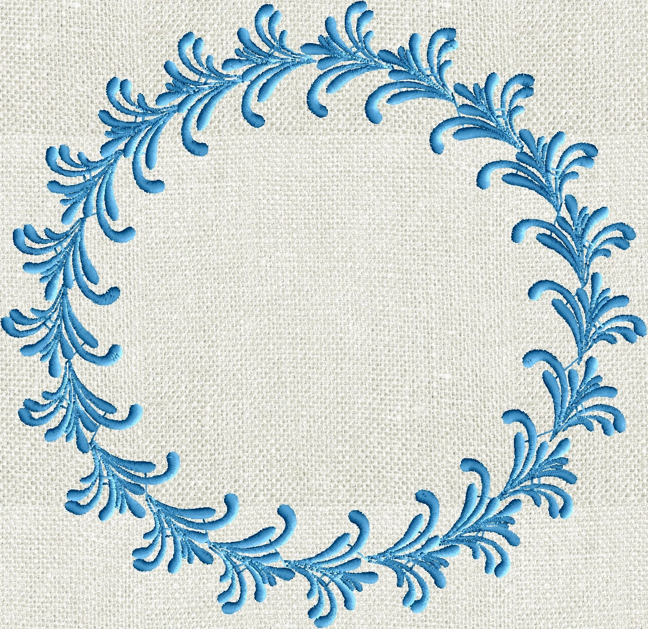 Feather font frame monogram embroidery design not