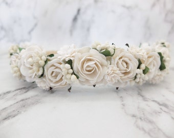 White flower crown - wedding floral hair wreath - flower headpiece - flower hair accessories for girls