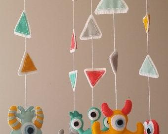 Baby mobile, monsters mobile, alien mobile, crib mobile, nursery decor, baby decor, monster nursery, monsters cot mobile