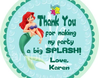 Little Mermaid Favor Tags, Thank  You Tags, Bag Tags, Sticker. Princess Ariel.  Digital (you print)