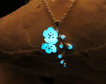 Cherry blossom pendant with sterling silver chain glow in the dark