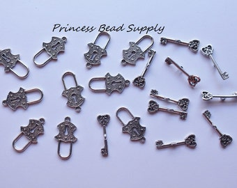 Set of 10 Antique Silver Plated Lock and Key Toggle Clasps,  Lock and Key Toggles