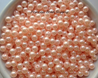 6mm Peachy Pink Pearl Beads Set of 100 or 200,  6mm Peach Beads, 6mm Peach Pearls, 6mm Pearls, 6mm Spacer Beads, Chunky Bubble Gum Beads