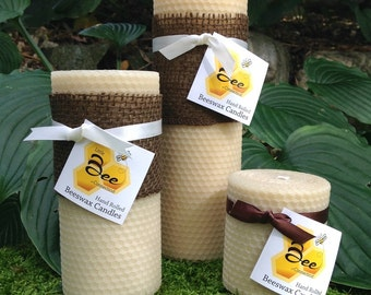 "8"" Little Bee Hand Rolled Beeswax Pillar Candle"