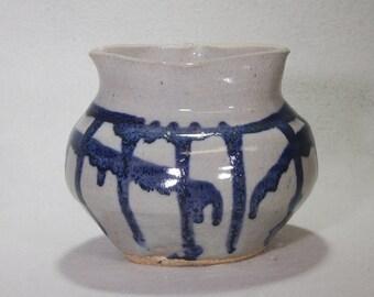Blue and White Stoneware Ceramic Jar