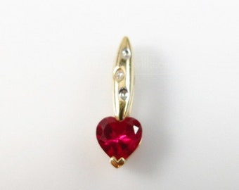 Ruby Heart Shaped Stone Pendant, 10K Solid Gold, Real Diamond Accent, Pendant or Charm
