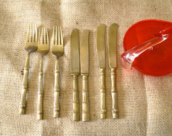 60s 70s brass fish knives and forks, Setting for 4, brass flatware, vintage knives forks, brass knives forks, 543/1115