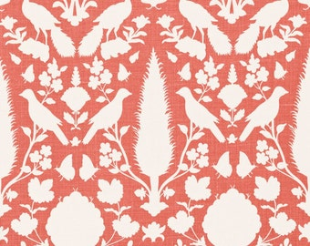SCHUMACHER CHENONCEAU FRENCH Toile Linen Fabric 10 yards Coral