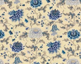 BRUNSCHWIG & FILS Shabby Cabbage Roses Linen Fabric 5 Yards Lapis Blue Multi