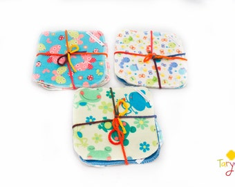 Set of 4 Cloth Wipes/ Flanel wipes / Reusable wipes / Baby Wipes / Family Cloth/  wipes / reusable cloths / face cloths / flannelette wipes