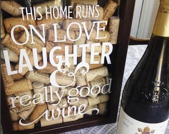 Wine Cork Shadow Box - Wine Art - Wine Cork Art - Home Decor - Personalized Art - House Warming Gift - Wine Lover Gift - Anniversary Gift