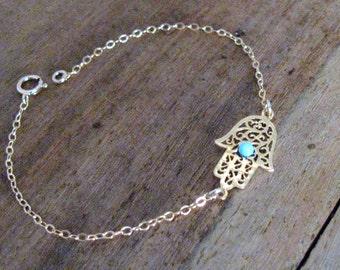 Opal hamsa bracelet, opal bracelet, gold bracelet, evil eye bracelet, gold hand bracelet, opal jewelry, hand bracelet, blue opal bracelet