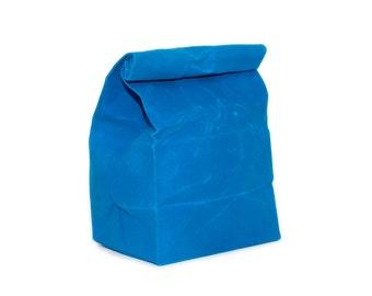 Lunch Bag in Cyan Blue // Waxed Canvas Lunch Bag // Lunch Bags // Canvas Lunch Bag