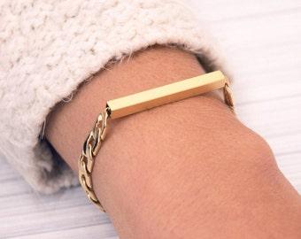 elegant bracelet, gold bracelet, gold tube bar, unique jewelry, gift for her