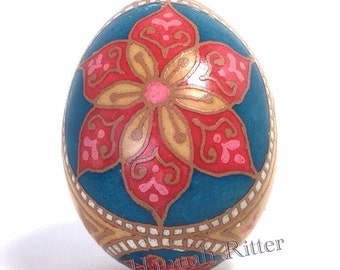 Etched and Dyed Brown Chicken Egg Pysanka