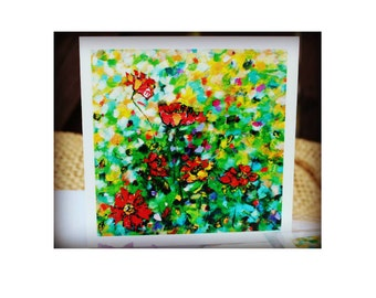Greeting card, Art Card, Poppies  Card, Flower card, Thank You Card, Card For Her, Card With Envelope