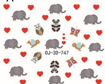 3 PCs Elephant Nail Stickers Nail Art Decoration, NA_073