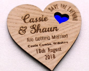 Coloured Heart Save The Date Magnet, Rustic Wedding Invite, Engraved Save the Date