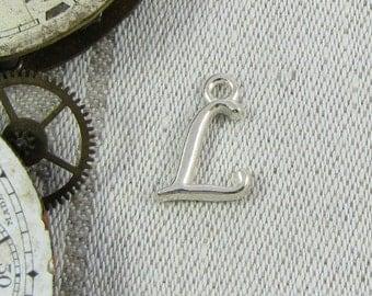 "Silver Script Letter ""L"" Charms, 1 or 5 letters per package  ALF018l"