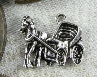 Set of (4) Silver Horse and Buggy Charm, 4 per package  TRV012