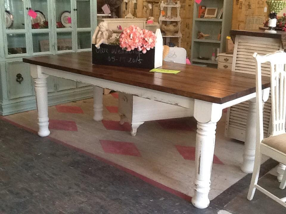 Turned leg farmhouse table chunky leg farm by for Farmhouse table plans with x legs