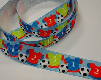 7/8 inch Colorful SOCCER TEAM Players on Light Blue - SPORTS Printed Grosgrain Ribbon for Hair Bow