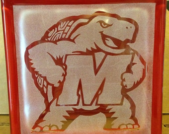 Maryland Terps glass block