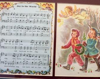 "1946 Christmas Carol Music ""Joy to the World"" Matted Vintage Print"