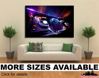 Wall Art Giclee Canvas Picture Print Gallery Wrap - Studio DJ Equipment CDJ Turntables - 60x40 48x32 36x24 24x16 18x12 3.2