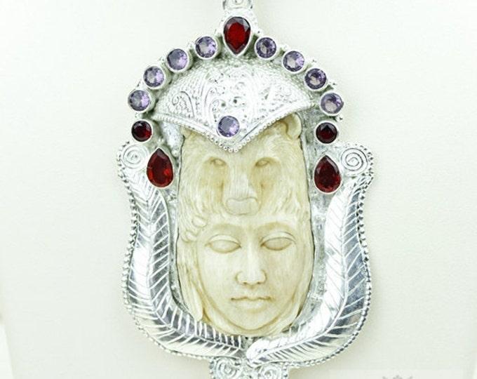 Bear Lady DEER ANTLER Native TOTEM Goddess Face Moon Face Bone Carving 925 S0LID Sterling Silver Pendant + 4MM Chain p3837