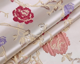 0.5 meter width 57.08 inches brocade fabric,golden thread brocade fabric,jacquard crafts fabric,for dress material,Floral fabric(150-41)
