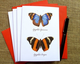 Set of 4 Cards - Romantic Series - Butterflies - Any Occasion - Inspired by W.C. Hewitson