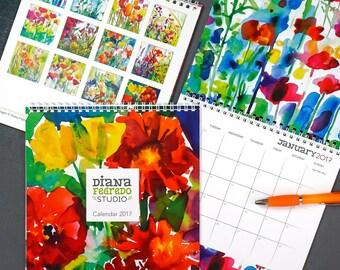 2017 Watercolour Flowers Wall Calendar