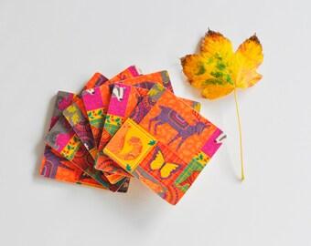 Autumn Colors Coasters Set of 6, Wood Coasters Set of 6, Wooden Coasters Set of 6